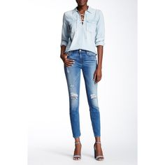 7 For All Mankind Gwenevere Ankle Skinny Jean ($80) ❤ liked on Polyvore featuring jeans, super skinny jeans, white skinny jeans, 7 for all mankind skinny jeans, white jeans and skinny fit jeans