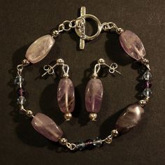 Amethyst Gemstone Bracelet & Earring Set - £22.50 with FREE Delivery!