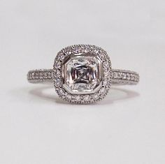 Christopher Designs Crisscut Cushion Platinum Engagement Ring