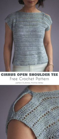 Cirrus Open Shoulder Tee Free Crochet Pattern The Effective Pictures We Offer You About crochet stitches A quality picture can tell you many things. Blouse Au Crochet, Poncho Crochet, Pull Crochet, Crochet Patron, Crochet T Shirts, Afghan Crochet Patterns, Easy Crochet, Free Crochet, Crochet Tunic Pattern