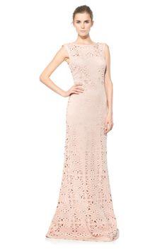 Laser Cut Neoprene Boatneck Gown
