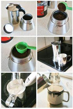 Art of Making a Caffè Latte with Bialetti Stove Top Espresso Maker Espresso Coffee Machine, Espresso Maker, Espresso Cups, Coffee Maker, Espresso Latte, Coffee Shop, Bialetti Espresso, Coffee Varieties, Iced Latte