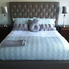LOVE everything about this bedding! Master Bedroom Redo, Master Suite, Custom Headboard, First Apartment, Bed & Bath, Beautiful Bedrooms, Sweet Home, House Design, Pillows