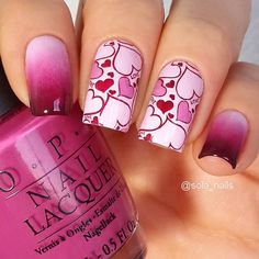 "solo_nail - OPI: ""Mod About You"", ""Dim Sum Plum"", ""Mrs. O'Leary's BBQ"" & Konad Magenta & stamping Konad Square Image Plate 01"