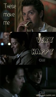 Supernatural--Castiel and cheeseburgers