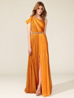 Oh how I wish my bridesmaids and I could afford this! Matthew Williamson Asymmetrical One Shoulder Knot Gown