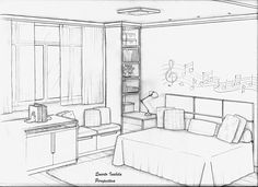 Home Decoration For Living Room Drawing Interior, Interior Design Sketches, Best Interior Paint, Room Interior, Perspective Room, Dream House Drawing, Architecture Drawing Sketchbooks, Online Architecture, Decorating With Pictures