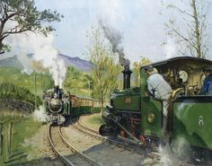 catonhottinroof: Terence Cuneo On the Ffestiniog Railway (The Pass Track) Uk Rail, Train Posters, Puzzle Of The Day, Steam Railway, Train Art, British Rail, Steam Locomotive, Art Pictures, Transportation