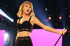 Taylor Swift performs on Hollywood Boulevard for Jimmy Kimmel Live on October 23, 2014.