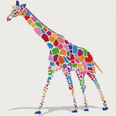 Rainbow giraffe counted cross stitch kit by YiotasXStitch on Etsy, .90