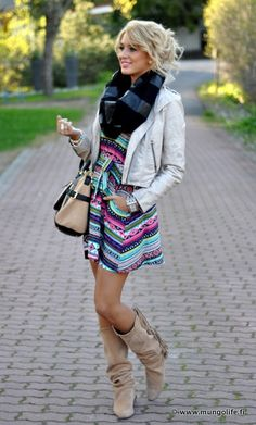 Dress with a scarf, cropped jacket, an boots! What a cute way to transform from summer into fall