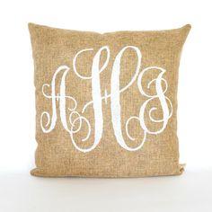 Burlap Custom Monogram Pillow FREE SHIPPING by KatieScarlettCo, $24.50