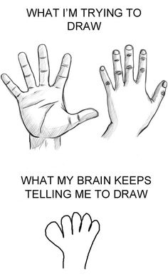 Drawing hands.