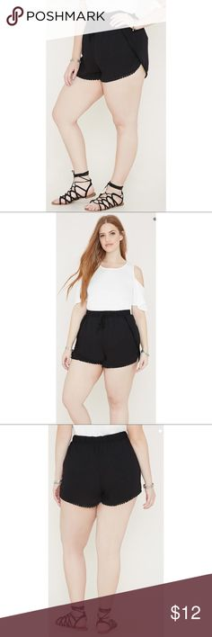 Plus Black Dolphin Hem Shorts Brand new. Just realized they're just a little too big for me. From Forever 21, size 2X. Never worn except to try on. Super comfy with an elastic tie waistband! 🌸 Forever 21 Shorts