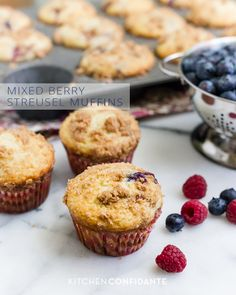 Mixed Berry Streusel Muffins | www.kitchenconfidante.com