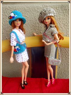 #Roupas #Acessórios #Doll #Crochet #Vestido #Dress #Barbie #Chapéu #Skirt #RaquelGaucha
