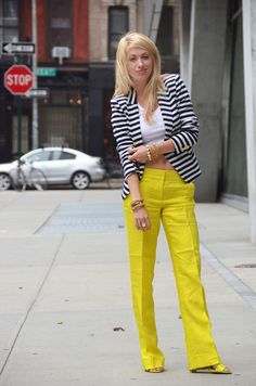 I fell in love with striped blazers all over again recently and this look is fab! [yellow pants + black and white stripes]