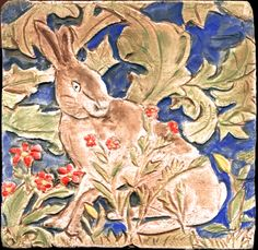 """Hare tile inspired by William Morris' Forest Tapestry.  The tile is porcelain and 4 x 4""""."""