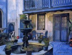 John Boles   WATERCOLOR          French Quarter Courtyard Painting