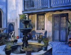 John Boles   WATERCOLOR          French Quarter Courtyard Painting
