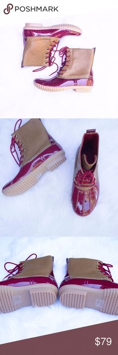 Fun Snow Boots These are perfect and just in time for winter!! Red and tan boots are fun and functional, these will go with everything this winter. Grab yours now before they sell out! These run true to size. Shoes Winter & Rain Boots