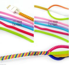 Spiral Phone Cord Protector Fray Fix Spring Mobile Fashion Colourful Acc | eBay