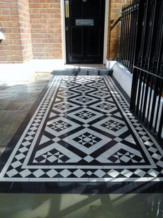 Black and white victorian mosaic tile path red brick garden wall wrought iron rail and gate bespoke bin store london - London Garden Design Porch Tile, Patio Tiles, Garden Tiles, Red Brick Tiles, Brick Garden, Garden Floor, Garden Paths, Victorian Mosaic Tile, Outdoor Patio Designs