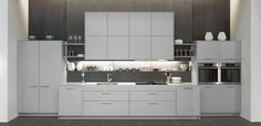 Grey Pronorm kitchens are available in silky lacquer or laminate.