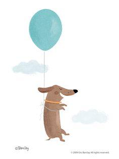 Eric Barclay: Drifting Fuchs Illustration, Abstract Illustration, Cute Illustration, Ballon Illustration, Dachshund Art, Daschund, Wow Art, Illustrators, Character Design