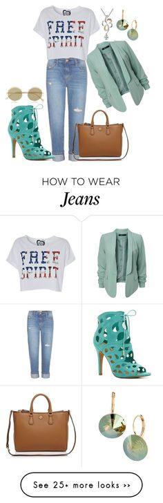 """""""Jeans and TShirt."""" by bhattasharmaluna on Polyvore featuring Current/Elliott, MaBelle, Tory Burch, ALDO, Le Specs, L. Erickson, jeans and Tshirt"""