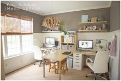 What an inspiring way to include the whole family in your workspace!  @Be True Image Design created her dream office and included a LINNMON desk for her children.
