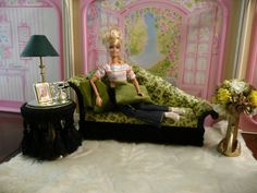 OOAK Barbie Chaise Living Room House Furniture Diorama 1 6 Scale Miniature Lot | eBay