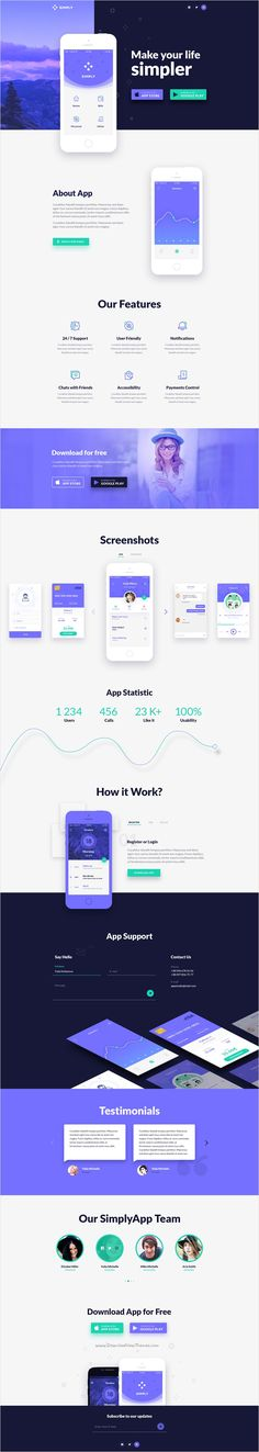 Simply is One Page #PSD #template with modern, and clean design suitable for #app marketing website download now➩ https://themeforest.net/item/simply-onepage-app-template/17130689?ref=Datasata