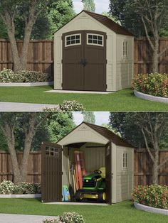 Is storage space a concern in your yard or outdoor environment? SUTTON® Storage Shed from Suncast. Constructed of steel-reinforced, durable, double-wall resin, this sturdy shed is great for housing large equipment like tractors an Suncast Sheds, Surefire, Windows And Doors, Storage Solutions, Storage Spaces, Giveaway, September, Construction, Backyard