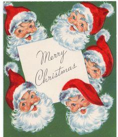 Many Santa Claus Jolly Bells Ringing Flocked VTG Christmas Greeting Card