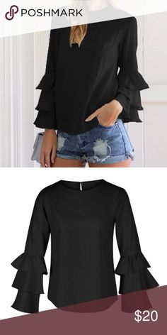 Black Bell Sleeve Top Lightweight and perfect for the summer time. Style it with some jean shorts and you're ready to go! Fits more of a M. Can also fit S for a looser fit. Really cute! Tops Blouses