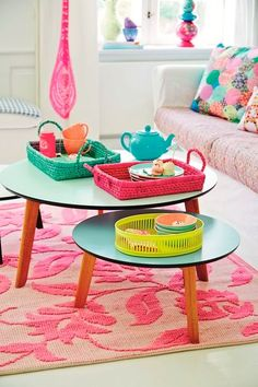 girls room- great colors and super cute little tables. Pink, green, teal and white.