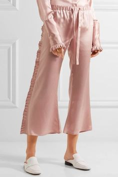 Maggie Marilyn - The Good Knight Pleated Silk-satin Flared Pants - Pastel pink - UK
