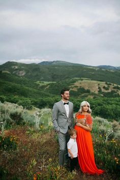 CARA LOREN: Mountain Maternity Shoot | In love with this location and the more muted tones with that pop of orange.