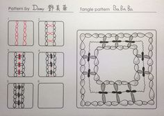 Bababa. Tangle Pattern and Example by Damy, CZT.