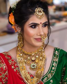Indian Bridal Fashion, Fiery Red, Lehenga Designs, Gold Jewellery, Jewelry, Homemade Skin Care, Bridal Photography, Dimples, Bridal Makeup
