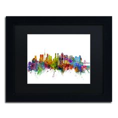 Tokyo Japan Skyline by Michael Tompsett Framed Graphic Art in Black