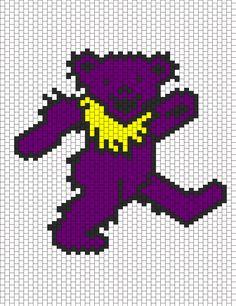 Kandi Patterns for Kandi Cuffs - Characters Pony Bead Patterns Pony Bead Patterns, Peyote Stitch Patterns, Kandi Patterns, Perler Patterns, Beading Patterns, Grateful Dead Dancing Bears, Graph Paper Art, Beaded Cross Stitch, Knitting Charts