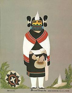 """Vintage Hopi Indian Kachina Print by Bruce Timeche - """"Maiden""""-Free Shipping!"""