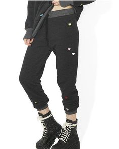Multi-Colored Heart Embroidery Jack Jogger