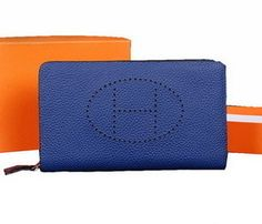 Hermes Evelyn leather clutch granular H1013 Royal Blue