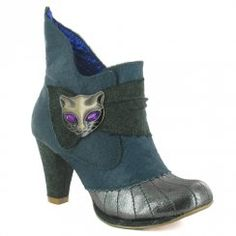 Irregular Choice Miaow 3432-02Q Womens Leather Ankle Boots - Green