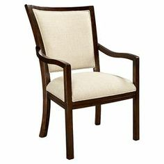 """Framed in rich, coffee bean-finished mahogany wood, this handsome arm chair features contrasting upholstery and slightly curved arms.    Product: ChairConstruction Material: Mahogany solids and veneersColor: Coffee beanFeatures: Curved slatsDimensions: 39"""" H x 24"""" W x 25"""" D"""