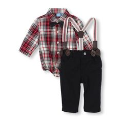 Long Sleeve Plaid Button Down Bodysuit, Bow Tie, Suspenders & Pants Set