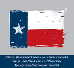 Texan Flat Flag - Vector Artistic Brush Strokes and Splashes. Grunge Illustration, all elements neatly on layers and groups. The JPEG has a clipping path for accurate background removal Flag Vector, Texans, Brush Strokes, Stock Illustrations, Royalty Free Stock Photos, How To Remove, Feelings, Artist, Flat